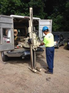 Sampling the shallow contaminated soil