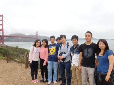 Picture during the cycling tour to Sausalito, with Golden Gate Bridge for a background.