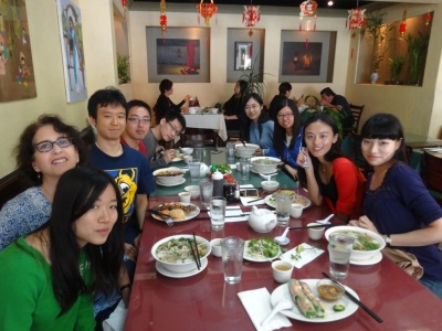 Photo with my teacher and classmates in China town