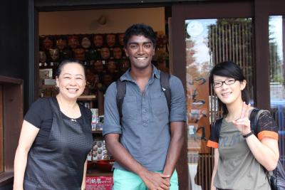 My supervisor (right) and I with the souvenir shop owner (left) in Kawagoe, Saitama Prefecture