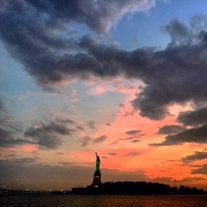 NY Water Taxi 1: The Statue of Liberty in the sunset
