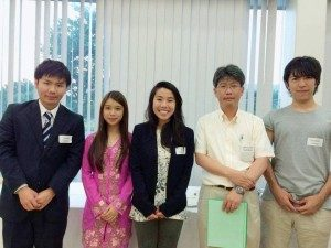 A photo taken at the UTSIP farewell party with a few of the Tokunaga Laboratory members. From left to right: Ujihara-san (my tutor), Hayley Lim (my laboratory partner and a fellow UTSIP participant), me, Professor Tokunaga, and Harada-san (Hayley's tutor).